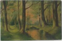19th Century Original Naive Oil on Board of a Woodland and Stream