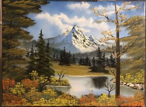Original Mountain Oil Painting (18x24 Inch Canvas) Bob Ross Technique