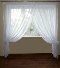 AG10 Rideau prêt à poser en voile Set beau moderne blanc 250 x 300 cm fenêtre