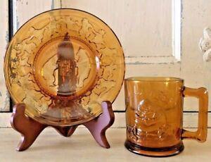 Lot of 2 Vintage Tiara Gold Amber Glassware Nursery Rhyme one Plate and one Mug