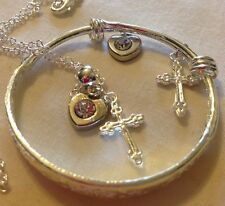 "18""Sterling Sil Chain&925stamped Bangle/clearCrystal&silver+3d Cross/Boxed."