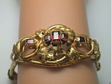 """Victorian Vintage Bohemian Garnet Bracelet 21KT Yellow Gold 6.75"""" Fine Jewelry"""