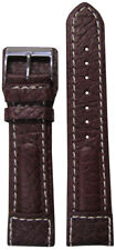 22mm Panatime Brown Dimo Calf Leather Pilots Style Watch Band w/White Stitching