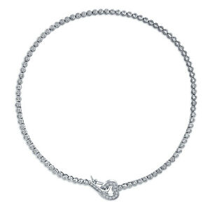 Round Bezel Tennis Collar Necklace Front Heart CZ Silver Tone Plated