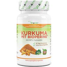 Kurkuma mit Bioperine 180 Tabetten - 1600 mg Kurkuma Pulver - 90% Curcumin