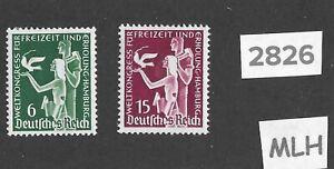 Very nice MLH stamp set Third Reich Hamburg Germany 1936 Recreation Congress