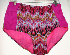 NEW WOMENS PLUS SIZE 3X HOT PINK RUCHED SIDES SWIMSUIT BATHING SUIT BOTTOMS