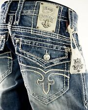 """$220 Mens Rock Revival Jeans """"Leather Inserts"""" Boot Cut 32 X 32"""