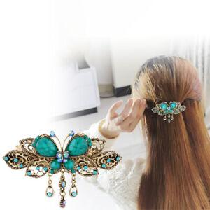 Women Girl Vintage Crystal Butterfly Hairpins Tassels Hair Clips Barrette Gift