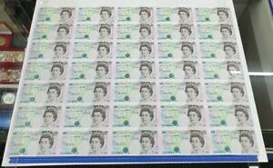 C122c  HONG KONG HANDOVER UNC £5 FIVE POUND SHEET OF 35  HK97 B364