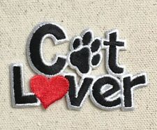 Cat Lover - Paw Print/Red Heart - Pets - Iron on Applique/Embroidered Patch
