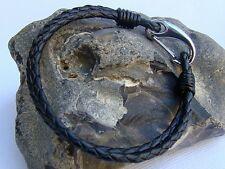 Men's Black Leather Cord Bracelet,  Stainless Steel lobster clasp