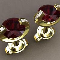 Fashion Women Lady Elegant Ruby 18K Gold Filled Ear Stud Bridal Earrings Jewelry