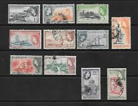 1953 Queen Elizabeth II SG289 to SG300 set x 11 stamps mint & Fine Used BARBADOS