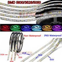 Super Bright 5M 3528 5050 5630 SMD 300 600 LED Flexible Strip light DC 12V White