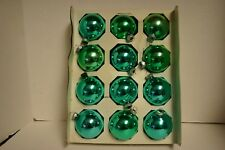 "VTG Lot 12 Shiny Brite Ball 2.5"" Mercury Glass Ornaments Turquoise Aqua w/ Box"