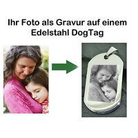 Edelstahl Dogtag ID Tag Fotogravur vom eigenen Foto & Text als Fotogeschenk