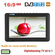 "9"" Inch Full HD 1080P DVB-T2 TFT LED Digital TV Television Player Portable TV EB"