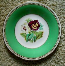 19th Cent BRITISH BONE CHINA Plate Hand Painted Pansies Green Band 19th Cent