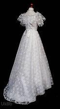 Vintage Wedding Dress 1980s White Floral Lace Train Boho 10-12 R624 Cosplay