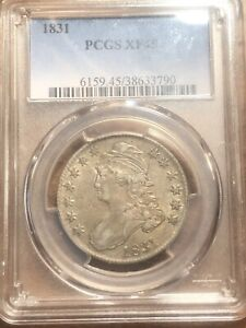 1831 PCGS CERTIFIED XF 45 CAPPED BUST HALF DOLLAR! RARE! GOOD EYE APPEAL! TONED*