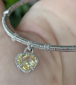 "Judith Ripka Sterling Silver Bangle With Citrine Heart Charm Bracelet 7 3/4"""