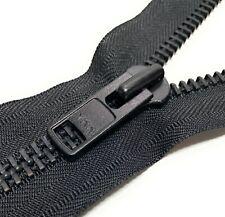 "YKK Size #10 Black Heavy Duty Metal Open End 8"" Inch Zippers Made in USA New"