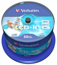 50 Genuine Verbatim Blank CD-R White Printable 700MB 52x 80Mins 43438 Spindle