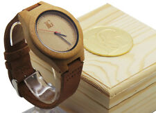 ENGRAVED Wooden Watch PERSONALISED Leather Monogram Gents Ladies Wood Box Luxury