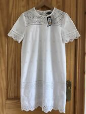 Brand NEW M&S White Broderie Anglaise Holiday Beach Cotton Zara Style Dress 10