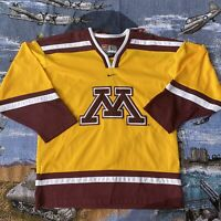 Men's Large Yellow Nike Minnesota Golden Gophers College Hockey Jersey