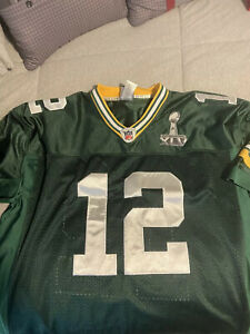 GREEN BAY PACKERS AARON RODGERS SUPER BOWL JERSEY SIZE 52 ON FIELD SEWN STITCHED