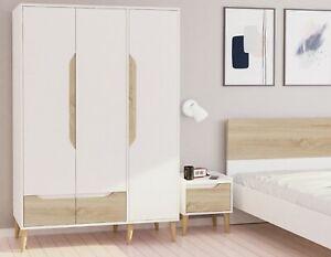 Bedroom Furniture 3 Door Wardrobe Cupboard Storage Cabinet & Drawers White Oak