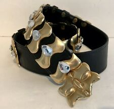 "Jeweled Studded Belt | Vintage Black Leather W/ Gold Signed ""Dmp� Made in Usa"