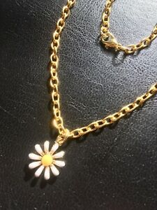 Enamel Daisy Anklet Gold Tone Ankle Bracelet Plus Size 11 Inch Long Holiday