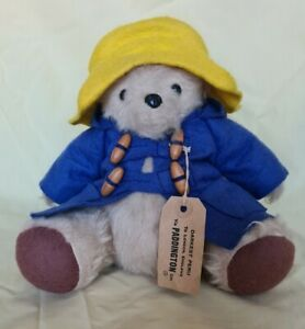 Vintage Paddington bear with yellow hat. Seated.  by Gabrielle designs