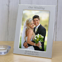 Personalised - Silver Plated OUR WEDDING Picture Photo Frame Anniversary Gift