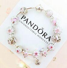 Authentic Pandora Bracelet Silver Bangle with Pink Flowers Heart European Charm