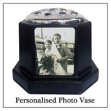 Noir photo plaque tombe vase & silver flower pot, personnaliser avec toute image