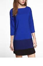 EXPRESS XS shift dress blue black color block 3/4 slv lined $70 NW0T SISLOU W22