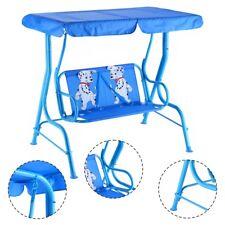 Balancelle de Jardin pour Enfants Toit Anti-UV Avec 2 Places Balançoire Bleu
