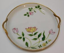 Nippon Lotus Flower Plate Dish Pink Yellow Flowers Gold Accents Handles