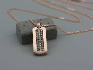 """18K Rose Gold Over Men's Dog Tag Pendant 24"""" Necklace Set with Champage Diamonds"""