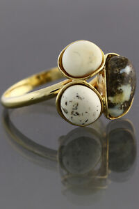 Genuine BALTIC AMBER WHITE BLUISH Gold Plated Silver 7.25 Ring 3.1g 190402-5