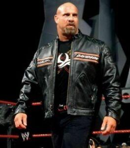 Mens HD Bill Goldberg Racer Motorcycle Distressed Biker Style Leather Jacket