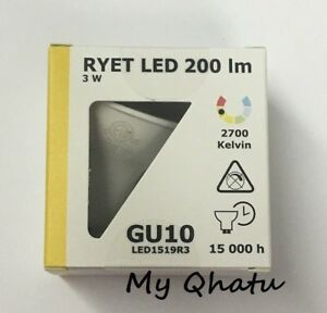 Pack of 2 Ikea RYET LED GU10 200 lm 3 Watt Light Bulb LED 803.062.47 New