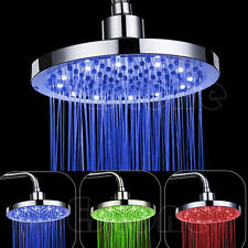 "Stainless Steel 8"" inch Round Rain Bathroom Shower Head RGB LED Light"
