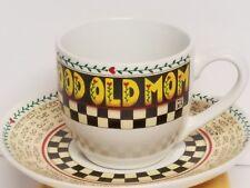 """Mary Engelbreit """"Good Old Mom"""" Advice Teacup Cup & Saucer 8 oz"""