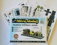 Micromodels THREE FAMOUS HISTORIC LOCOS Micro New Models card model KIT