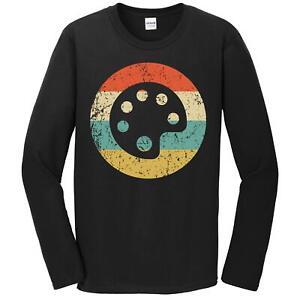Artist Painter Gift - Retro Paint Palette Long Sleeve T-Shirt Art Teacher Shirt